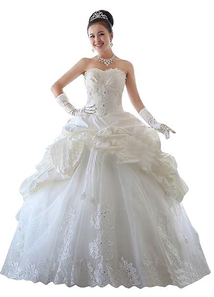 Beauty-Emily sin tirantes de novia boda vestido Formal del baile de encaje princesa -