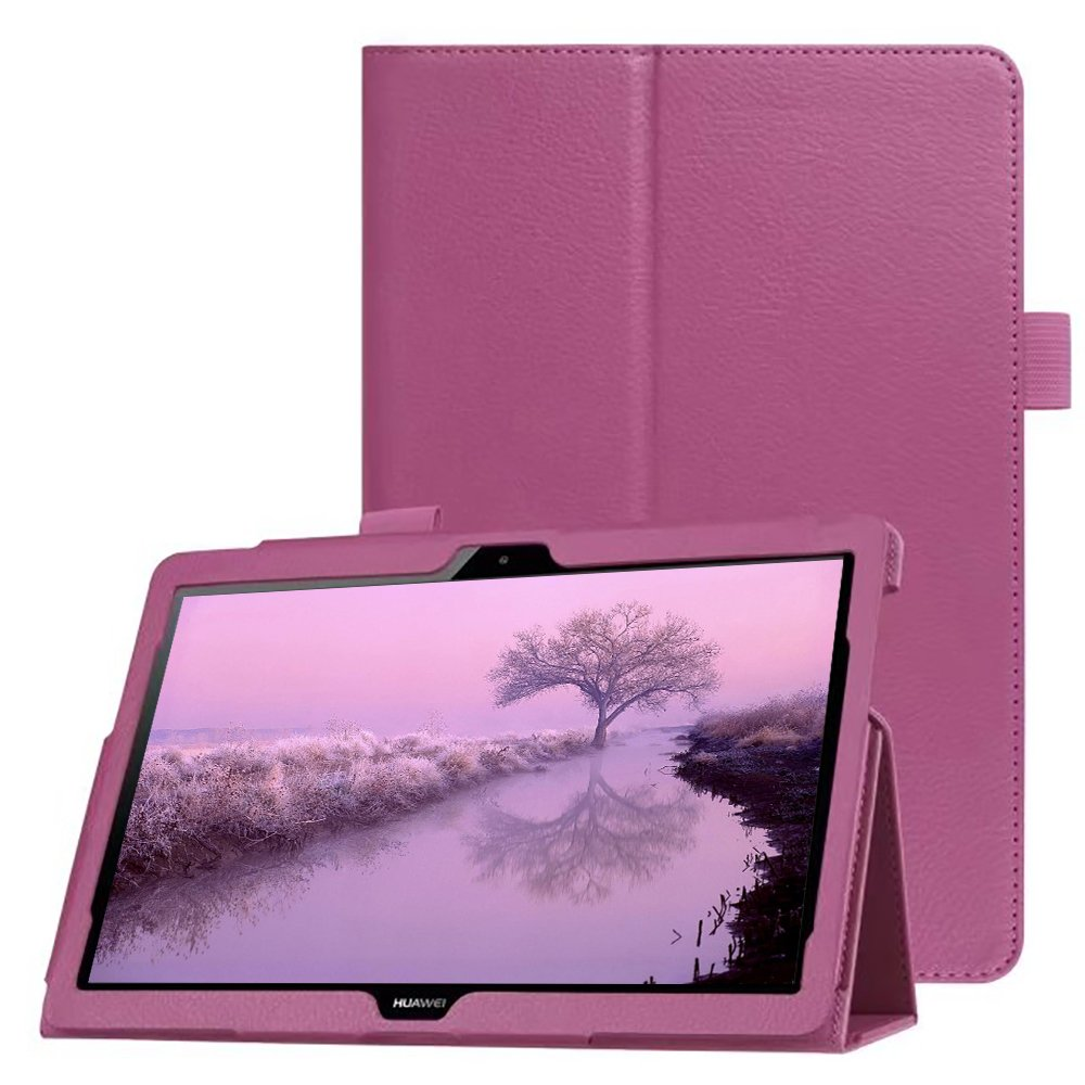 FANSONG HUAWEI Mediapad T3 10 Case Media Pad T3 9.6 Tablet with Stand ,Bifold Series Litchi Stria Ultra Thin Magnetic PU Leather Smart Cover [Sleep Function] Cases for Huawei MediaPad T3 10 (Purple)