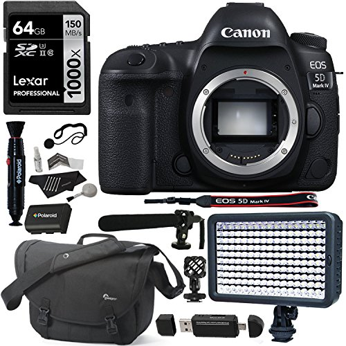 Canon EOS 5D Mark IV DSLR Camera Body, Lexar 64GB, Lowepro Camera Bag, Polaroid Microphone, Spare Battery, LED Light, Card Reader and Accessory Bundle
