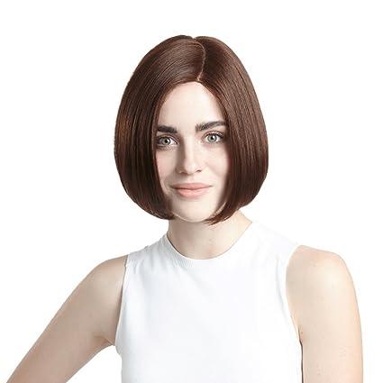 Peluca Peluca de pelo corto y recto de Europa y América Mujeres naturales de moda Fluffy
