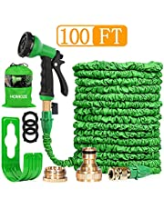 HOMOZE 100FT Expandable Garden Water Hose Pipe Expanding Flexible Hose With Solid Brass Connector/8 Function Spray Gun/Storage bag