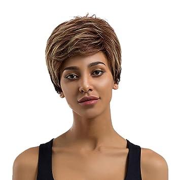 Peluca de pelo humano Remy natural de pelo real, peluca de pelo corto recto,