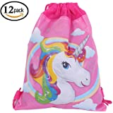 12 Pack Unicorn gift bags Drawstring Party bag Unicorn Party Favors,10.6*13.4
