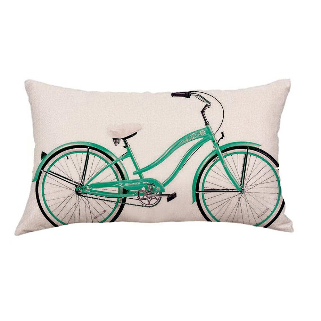 Fxbar Green Bicycle Printing Throw Cushion Cases, Plain Nostalgic Style Pillow Covers Eco-Friendly Rectangle Pillow Shell 12 x 20 Inch