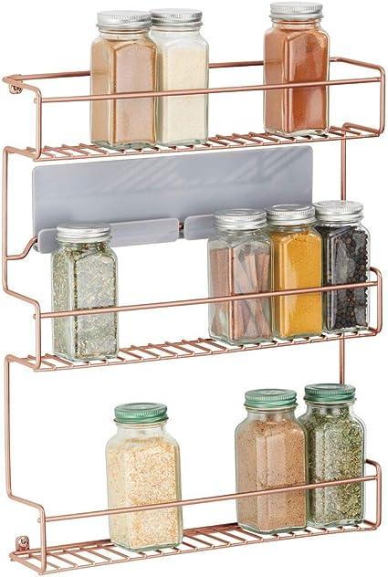 mDesign Estantería metálica – Especieros de Cocina autoadhesivos con 3 Niveles para Montaje en Pared – Ideal como Organizador de Especias para la ...