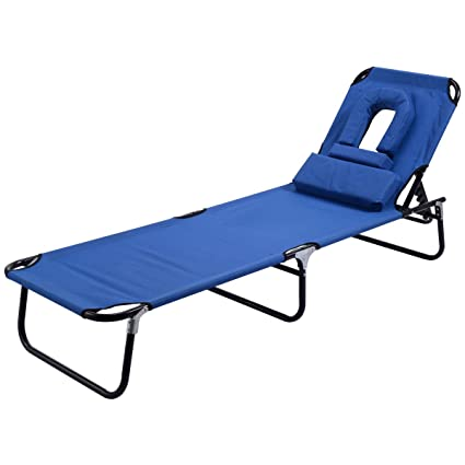 Goplus Folding Chaise Lounge Chair Bed Outdoor Patio Beach Camping Recliner  W/Hole For Face