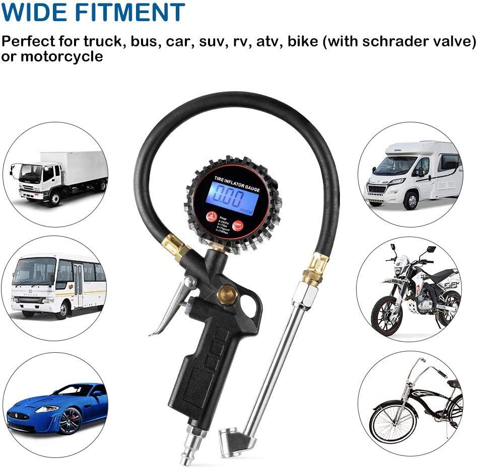 Compatible with Air Pump Compressor for Truck Bus RV Car Motorcycle Bike LED Display Tyre Deflator Gage with Dual Head Chuck Rubber Hose MNPT Fitting CZC AUTO Digital Tire Inflator Pressure Gauge