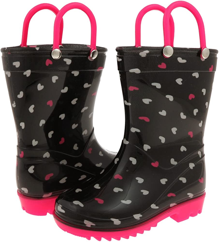 Capelli New York Shiny Scattered Hearts Printed with Contrast Handles Toddler Girls Rain Boot