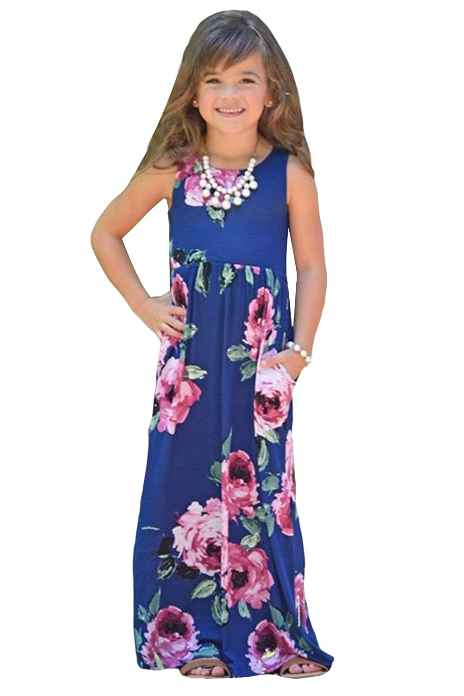 Faymio Little Girls Boho Floral Print Long Maxi Beach Dress 4-13 Years