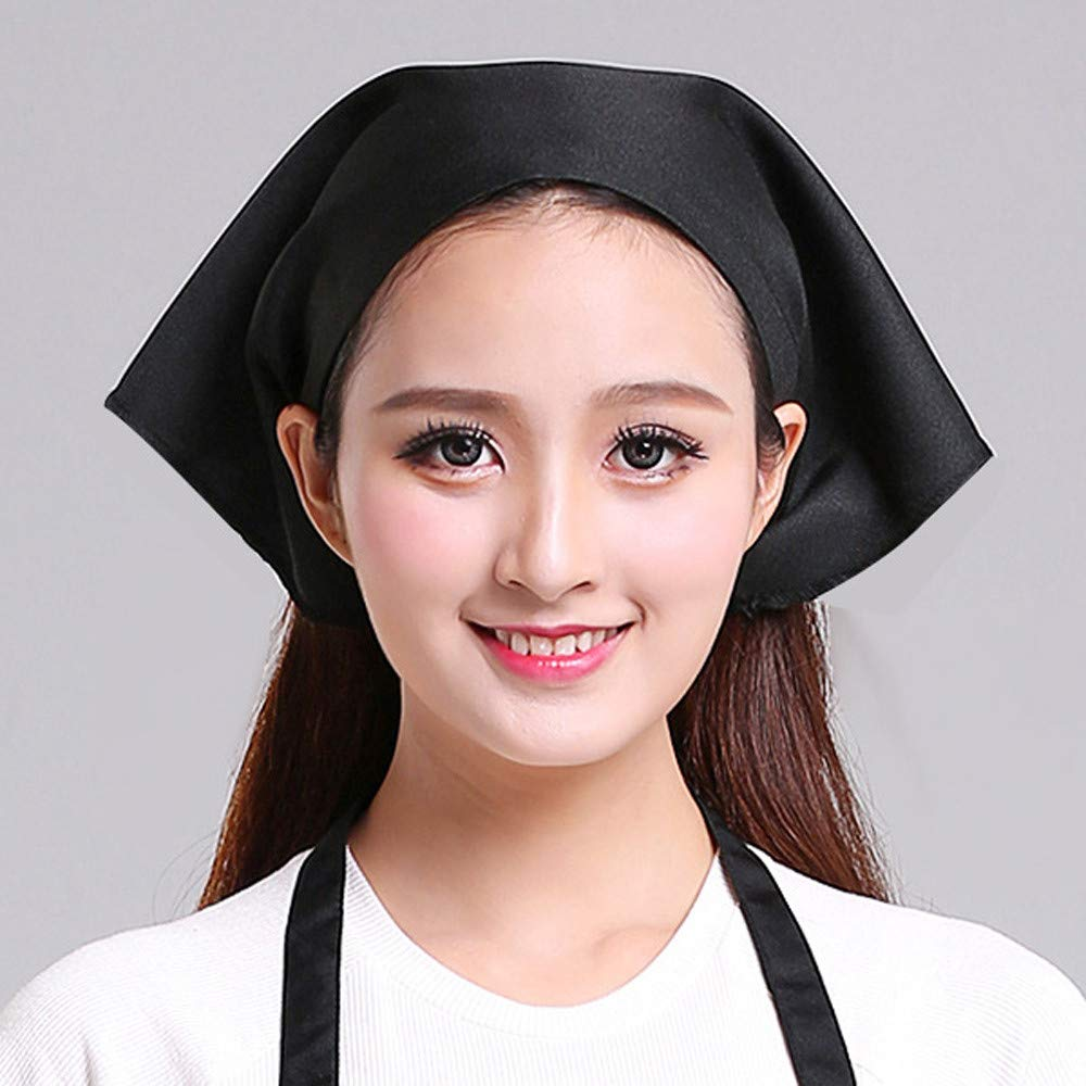 Transer Womens Hat Cap for Chef Housewife Waiter Cleaner Nanny Kitchen Worker (Black)