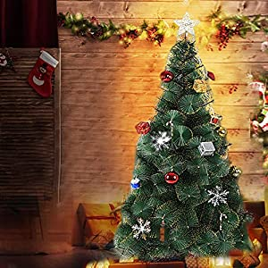 Dporticus 7' Classic Pine Artificial Christmas Tree Artificial Realistic Natural Branches Solid Metal Stand 4