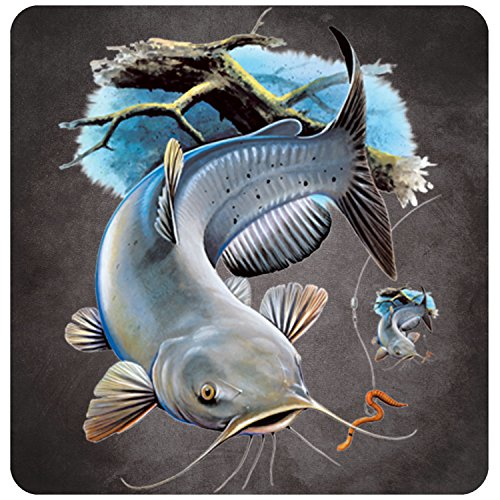 Catfish Decal - Catfish Fishing in the lake with bait lure Full Color Decal Sticker