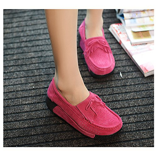 Slip Loafers Comfort Moccasins Shoes Rose Walking 1 Driving EnlleviiD Enllerviid Work Platform On Suede 1319 Women cqxEwZW1