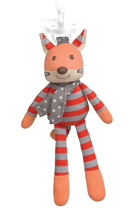 Apple Park Organic Farm Buddies - Frenchy Fox Pacifier Buddy, Baby Toy for Newborns and Infants - Hypoallergenic, 100% Cotton