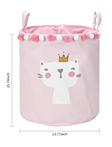 15.7-Inches Storage Bin, Cotton & Linen Fabric Storage Baskets with Handles,Waterproof Foldable Laundry Hamper, Dirty Clothes Laundry Basket, Toy Storage Bin,9 Styles (Cat)