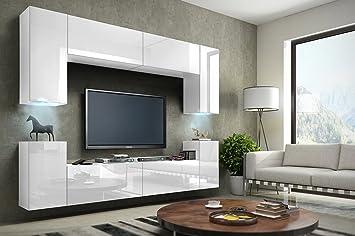 TV Wohnwand Mediawand In Weiß Mit LED Concept 1 Hochglanz Weiß