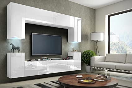 Tv Media Wall Units In White With Led Concept 1 Amazoncouk Diy