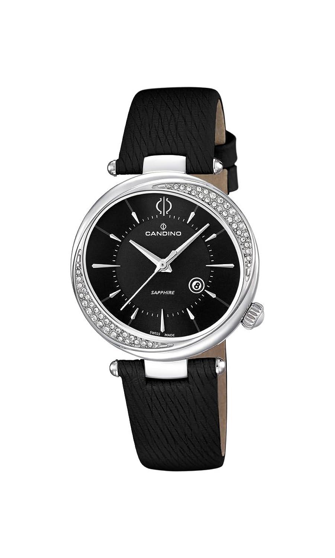 Candino Damen-Quarzuhr mit schwarzem Zifferblatt Analog-Anzeige und schwarz Lederband C4532-3