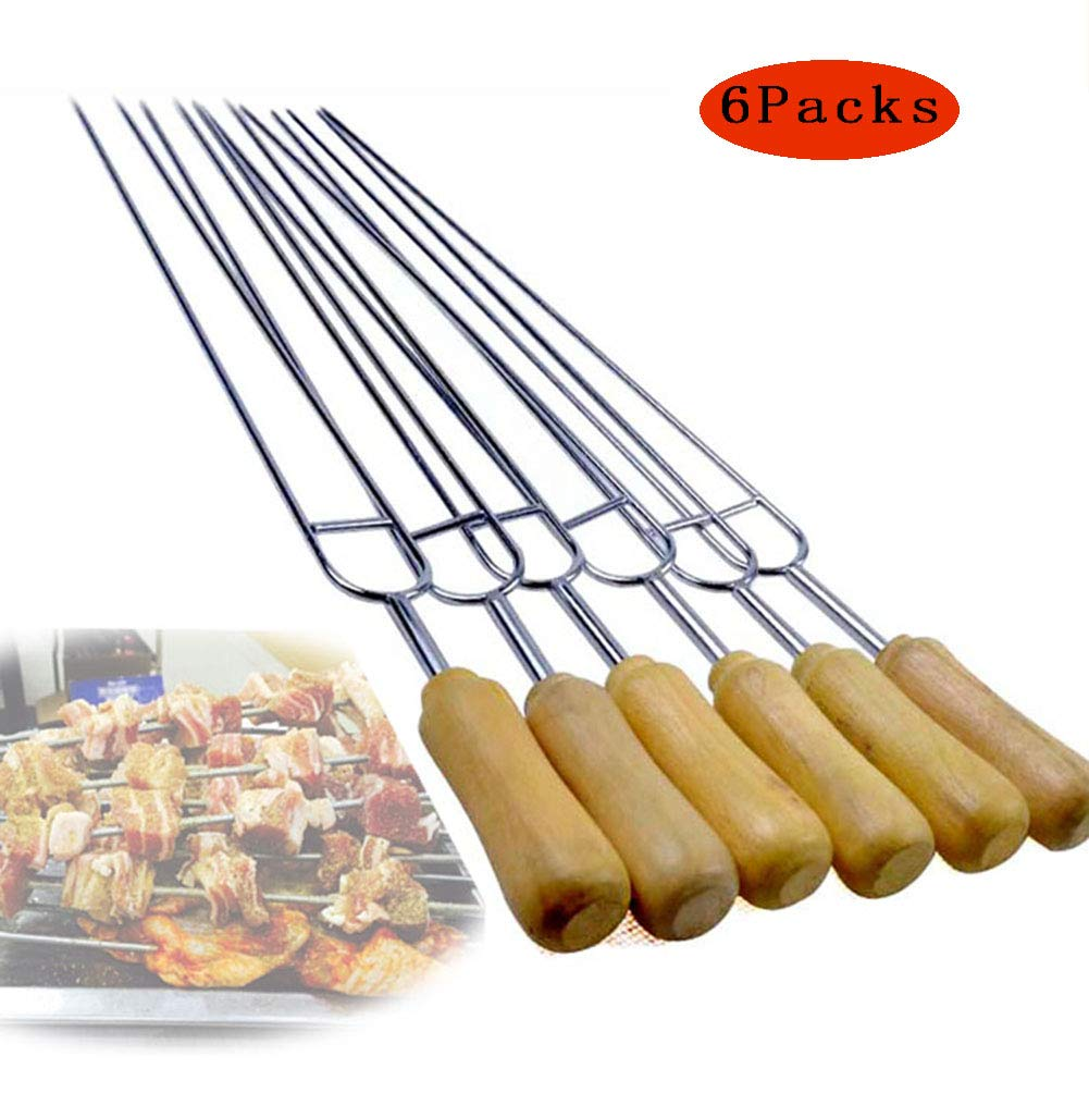 304 Stainless Steel Barbecue Forks Wooden Handle Double Fork Design,Suitable for Outdoor Barbecue,6Packs