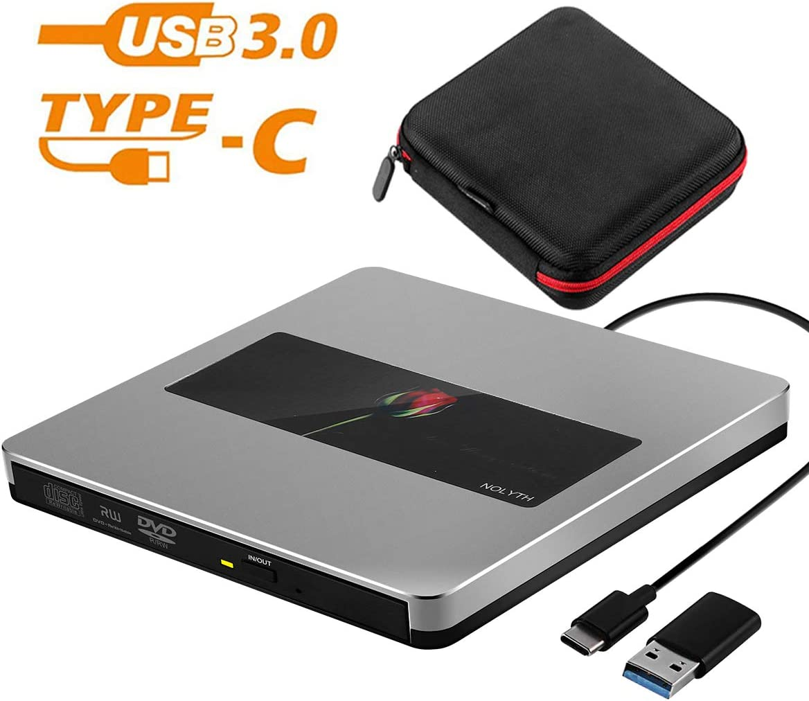 External CD Drive Portable USB 3.0/Type-C CD/DVD+/-RW CD ROM Burner Player Writer for Laptop MacBook Air Pro Mac Windows Desktop PC iMac(Grey)