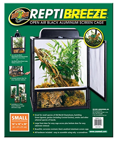 Reptile Starter Kit (Zoo Med ReptiBreeze Open Air Screen Cage, Small, 16 x 16 x 20-Inches)