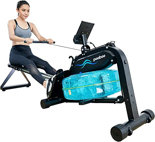 pooboo Magnetic Water Rowing Machine Indoor Flodable Exercise Rower with Adjustable Resistance and LCD Monitor for Home Cardio and Strength Exercise