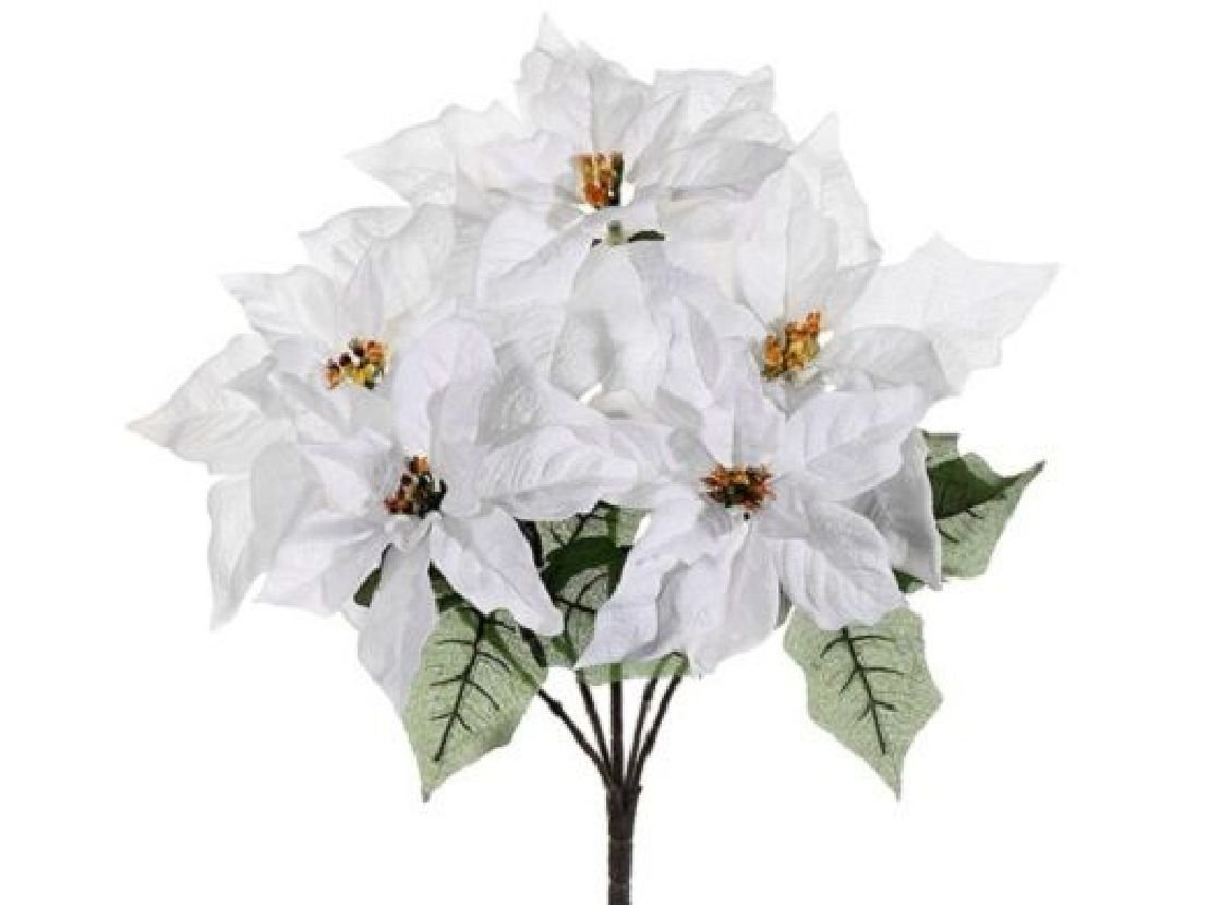 19'' Outdoor Water-Resistant Poinsettia Bush x5 Whit (Pack of 6) Silk Flower