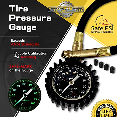 Stop-Alert Safe-PSi Air Pressure Tire Gauge, 100 PSI - Double Calibrated, Highly Accurate and Heavy Duty with Rubber Hose - Best For Car, Truck, SUV, Motorcycle - We Manufactures, BUY DIRECT From Us