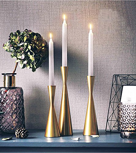 Set of 3 Brass Gold Metal Taper Candle Holders Candlestick Holders, Vintage & Modern Decorative Centerpiece Candlestick Holders for Table Mantel Wedding Housewarming Gift (Brass Golden, S+M+L/SET) by KiaoTime (Image #3)
