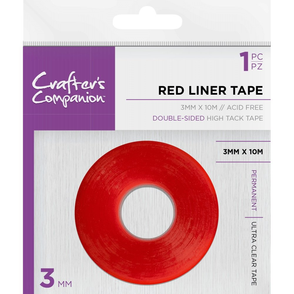 Crafter's Companion - 12 Packs of Red Liner Double Sided High Tack Tape 3mm