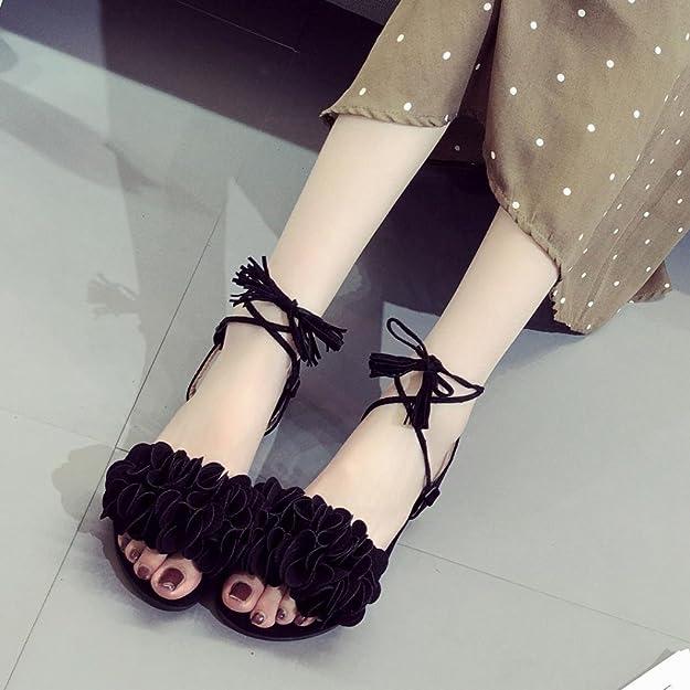 1aca78b0723 ALIKEEY Correa de Moda de Verano Flores Planas con Sandalias de Punta  Abierta  Amazon.es  Zapatos y complementos