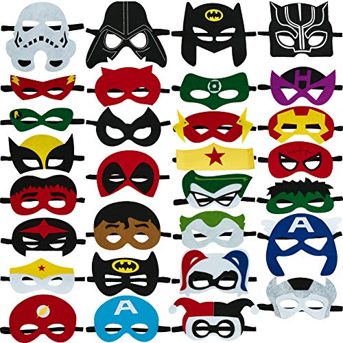 Superheroes Party Masks for Children Aged 3+,Felt Mask Superhero Birthday Party Cosplay Toy for Kids/Adults (30Pics)