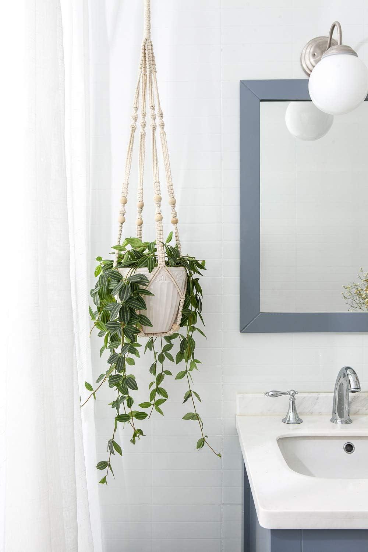 Mkono Macrame Plant Hangers Indoor Hanging Planter Basket with Wood Beads Decorative Flower Pot Holder No Tassels for Indoor Outdoor Home Decor 35 Inch, Ivory: Garden & Outdoor