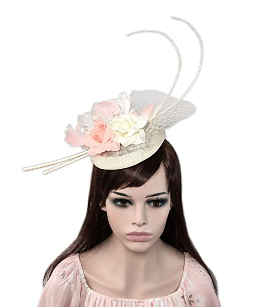 86a76924191 YSJOY Elegant Sinamay Feather Mesh Fascinator Derby Hat Simulation Flower  Bridal Bridesmaids Hair Accessory Church Tea
