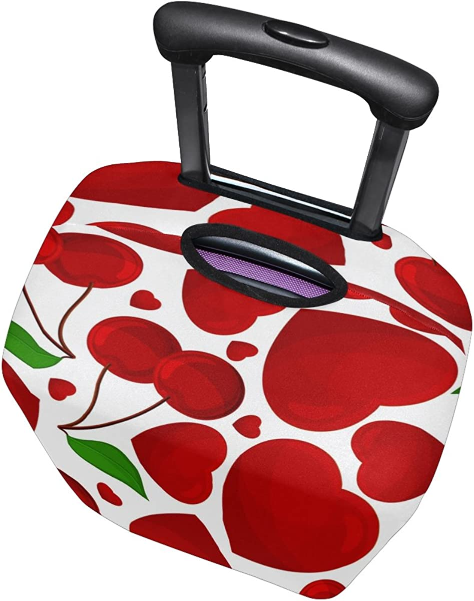 Jennifer Red Heart Cherry Fruit Pattern Travel Luggage Covers Suitcase Protector Fits 18-20 in
