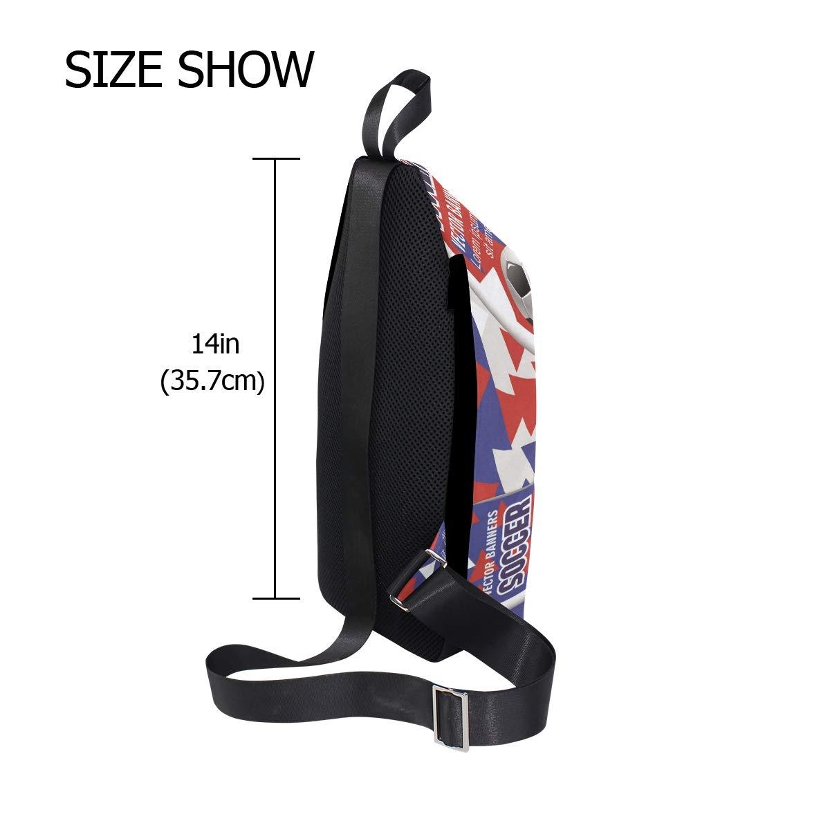 Unisex Messenger Bag Soccer Ball 3D Poster Shoulder Chest Cross Body Backpack Bag