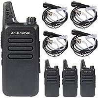 Zastone X6 Walkie Talkie UHF 400-470 MHz MINI-handheld Two way radio 5W Transceiver 4 Pack + 4 PCS Zastone 2-Pin Covert Air Acoustic Earpiece Headset