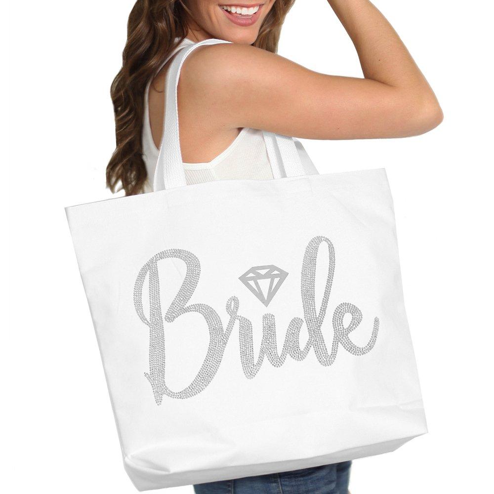 Bride with Diamond Motif Rhinestone Tote Bag - Bridal Shower Gift & Accessories Bride Tote - White Tote(Bride RS) WHT