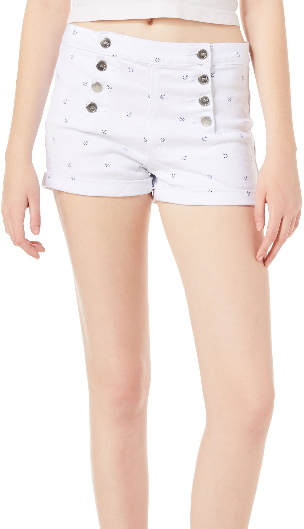 Almost Famous Juniors High Rise Anchor Shorts 7 White/Blue