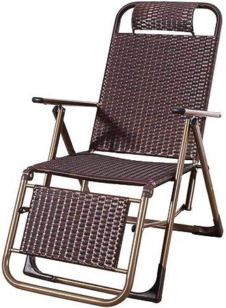 Silla reclinable Plegable de Mimbre Tumbona Sillas de jardín de Gravedad Cero sillas de Cubierta Sillón de Playa Exterior Interior marrón: Amazon.es: Hogar