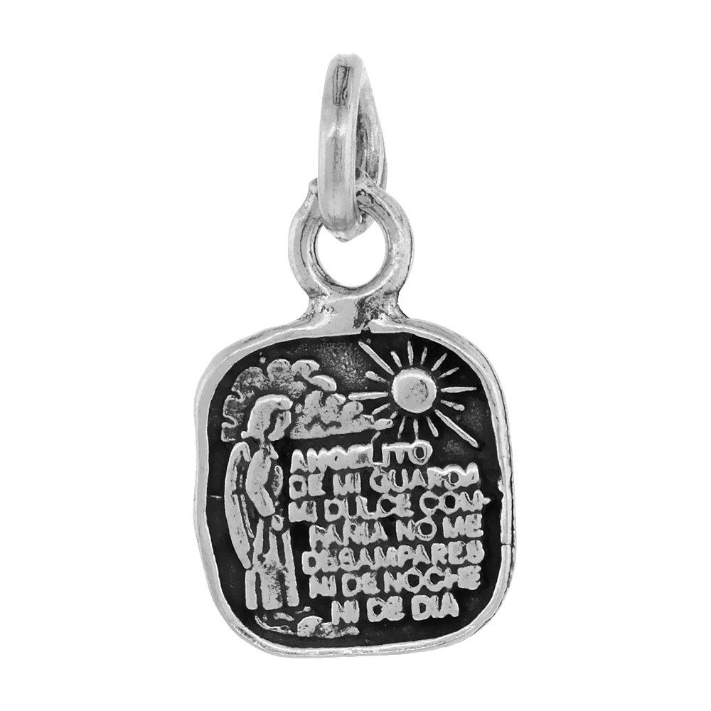 Sterling Silver Spanish Angelito De Mi Guarda Prayer Necklace Square 7//8 inch Tall 18-30 inch Chain