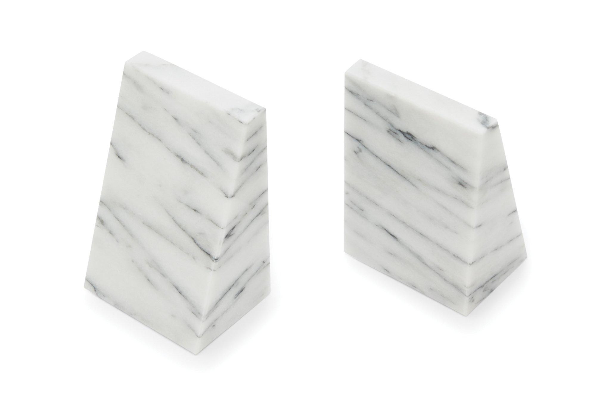 Fox Run Triangular 100% Natural Polished White Marble Bookends by Fox Run