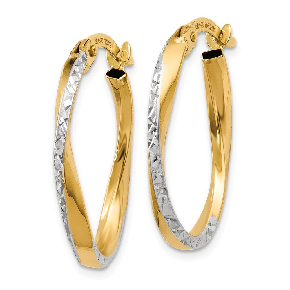 Mia Diamonds 14k Yellow Gold and Rhodium Textured and Polished Oval Hoop Earrings