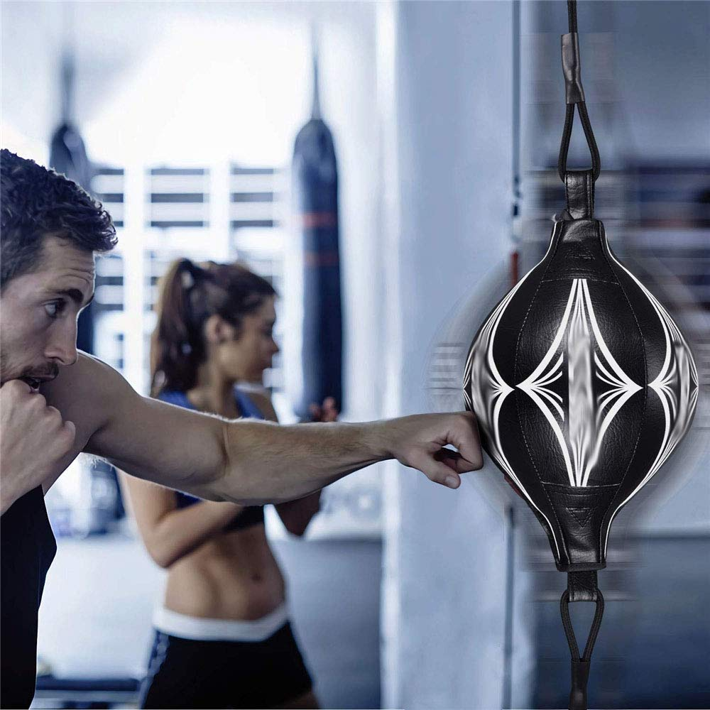 PORTA Leather Boxing Speed End Boxing Ball Speed Bag Punching MMA Explosion Proof Thick PU Material Training Workout Floor to Ceiling Rope
