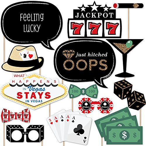 Big Dot of Happiness Las Vegas - Casino Photo Booth Props Kit - 20 Count]()