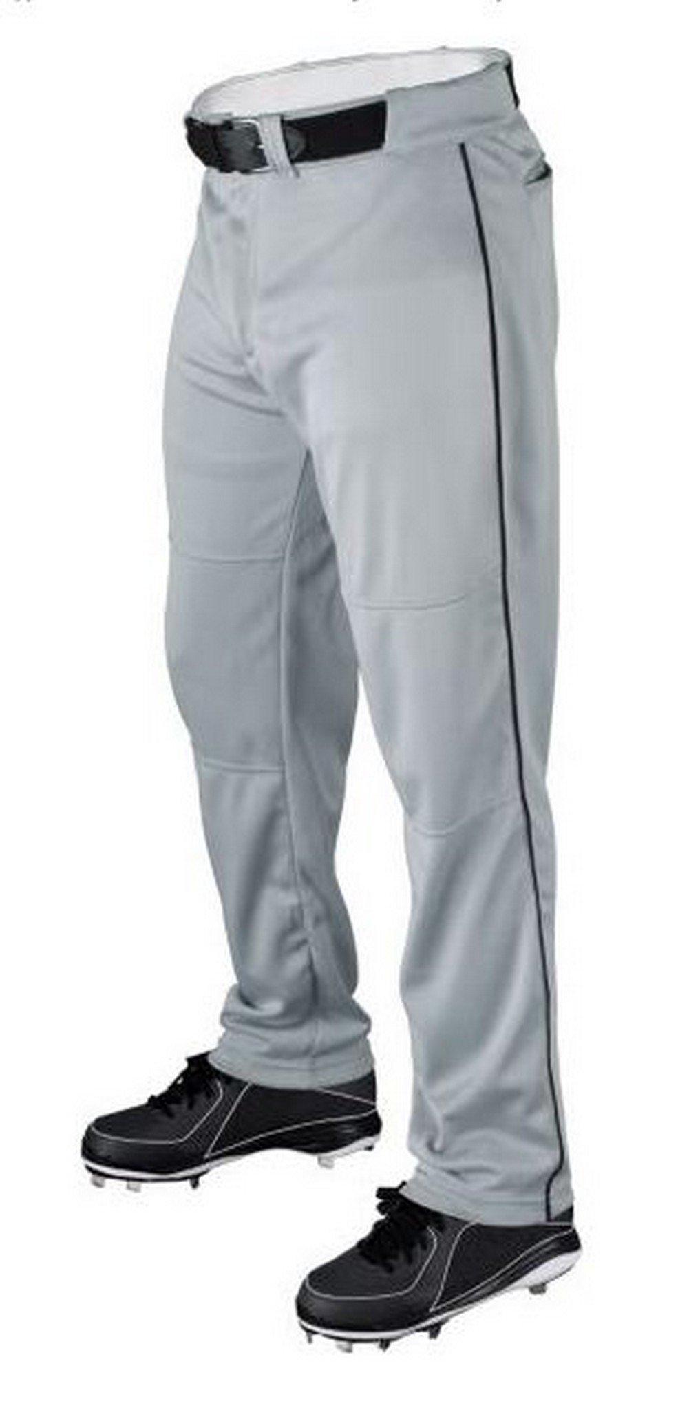 Wilson Youth Classic Relaxed Fit Piped Baseball Pant, Grey/Black, Small by Wilson