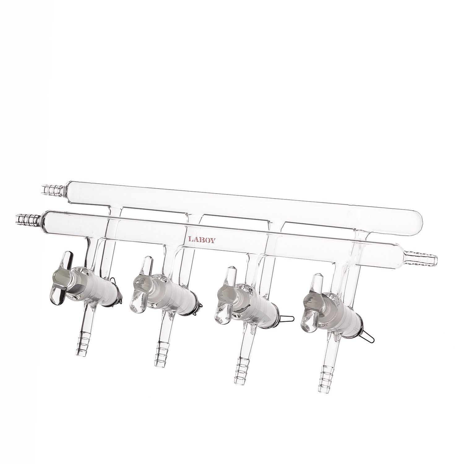 Laboy HMM011311 Glass Double Manifold Vacuum Gas Distributor for Schlenk Line with 4-Port Solid Glass Stopcock Front-Left-Right and Rear-Left Hose Opens 450 mm Length by LABOY