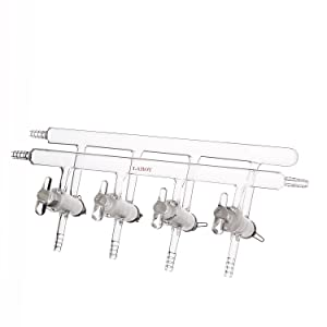 Laboy Glass Double Maniflod Vacuum Gas Distributor for Schlenk Line with 4-Port Solid Glass Stopcock Front-Left-Right &Rear-Left Hose Opens 450mm in Length Chemistry Lab Glassware