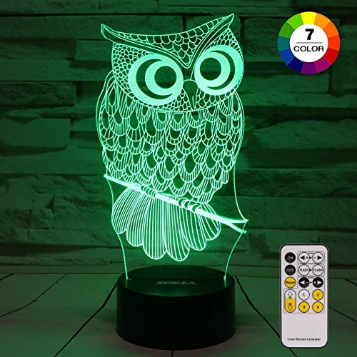ZOKEA Night Light 3D lamp 7 Colors Changing Nightlight with Smart Touch & Remote Control 3D Night Light for Kids or as Gifts for Women Kids Girls Boys (Owl)