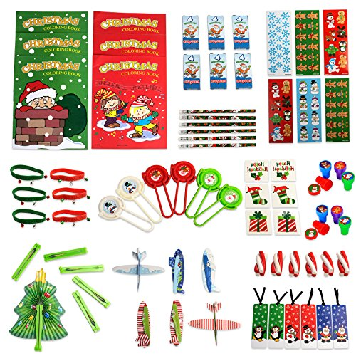 Neliblu Christmas Toys Party Favors Mega Assorted Stocking Stuffers, Holiday Toys and Activities, Christmas Coloring Books, Tattoos, Jingle Bell Bracelets and More 72 Mega Christmas Toy Assortment ()